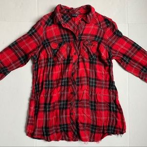 Torrid Flannel Button Down Shirt Black/Red Size 0